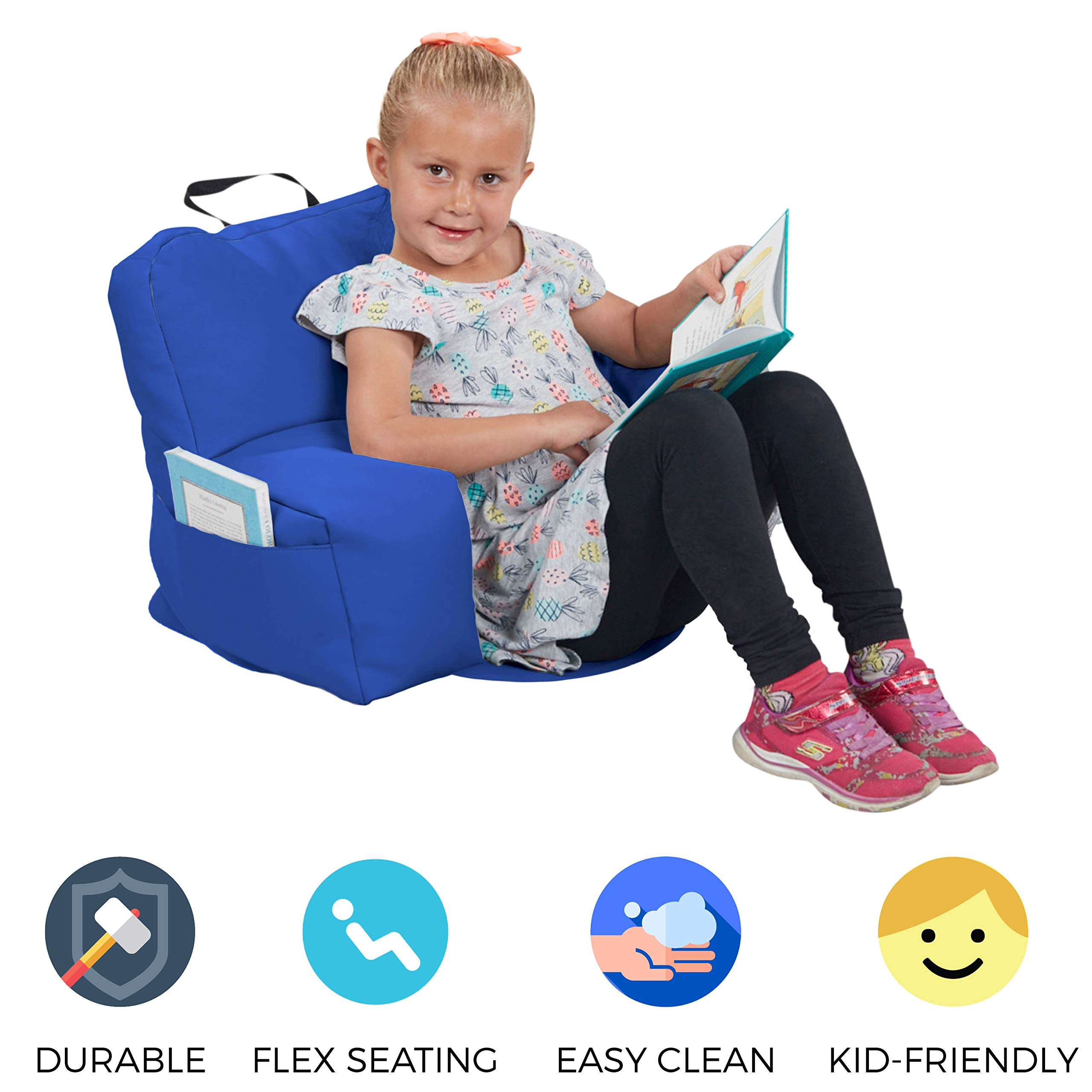 FDP SoftScape Relax-N-Read Bean Bag Chair with Supportive Back Rest and Storage Pockets, Flexible, Portable, Alternative Seating for Toddlers, Preschoolers, and Kids - Blue by Factory Direct Partners