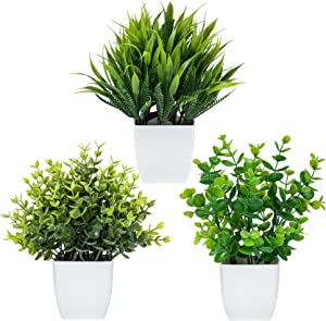 3 Pack Fake Plants in Pots Artificial Eucalyptus Plant Mini Potted Faux Plants Indoor Small Plastic Wheat Grass Shrubs Greenery in Pots for Table Desk Bathroom Bedroom Office Home Decor