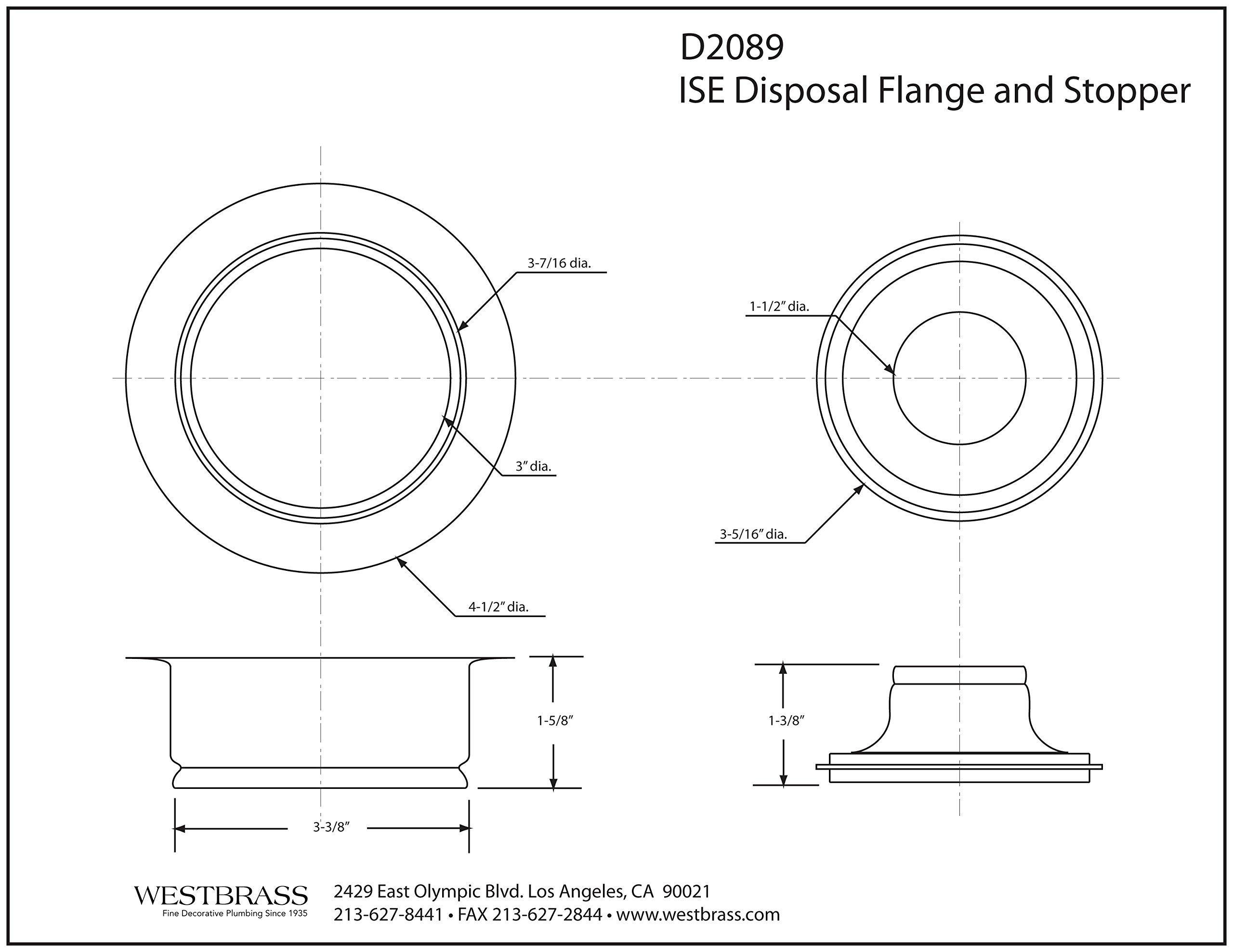 Westbrass InSinkErator Style Disposal Flange & Stopper, Matte Black, D2089-62 (Renewed) by Westbrass (Image #2)