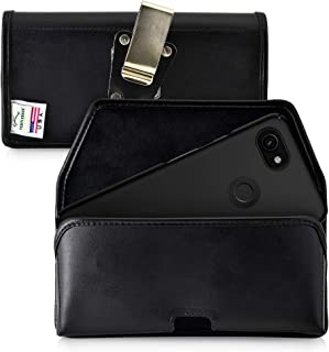 product image for Turtleback Belt Case Designed for Google Pixel 3 XL and Pixel 3A XL (2019) Holster Black Leather Pouch with Heavy Duty Rotating Belt Clip, Horizontal Made in USA