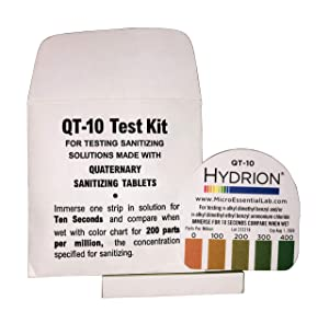Steramine Quat Test Strips for Food Service, 30 x QT-10, Test Strips to Measure 0-400 ppm, For Testing Sanitizing Solutions Made with Steramine Quaternary Tablets, Hydrion QT-10E, 2 x Envelopes