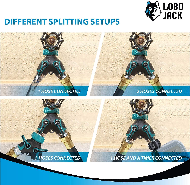 LoboJack 2 Way Hose Splitter 2 Quick Connect Y Valve Garden Hose Connector