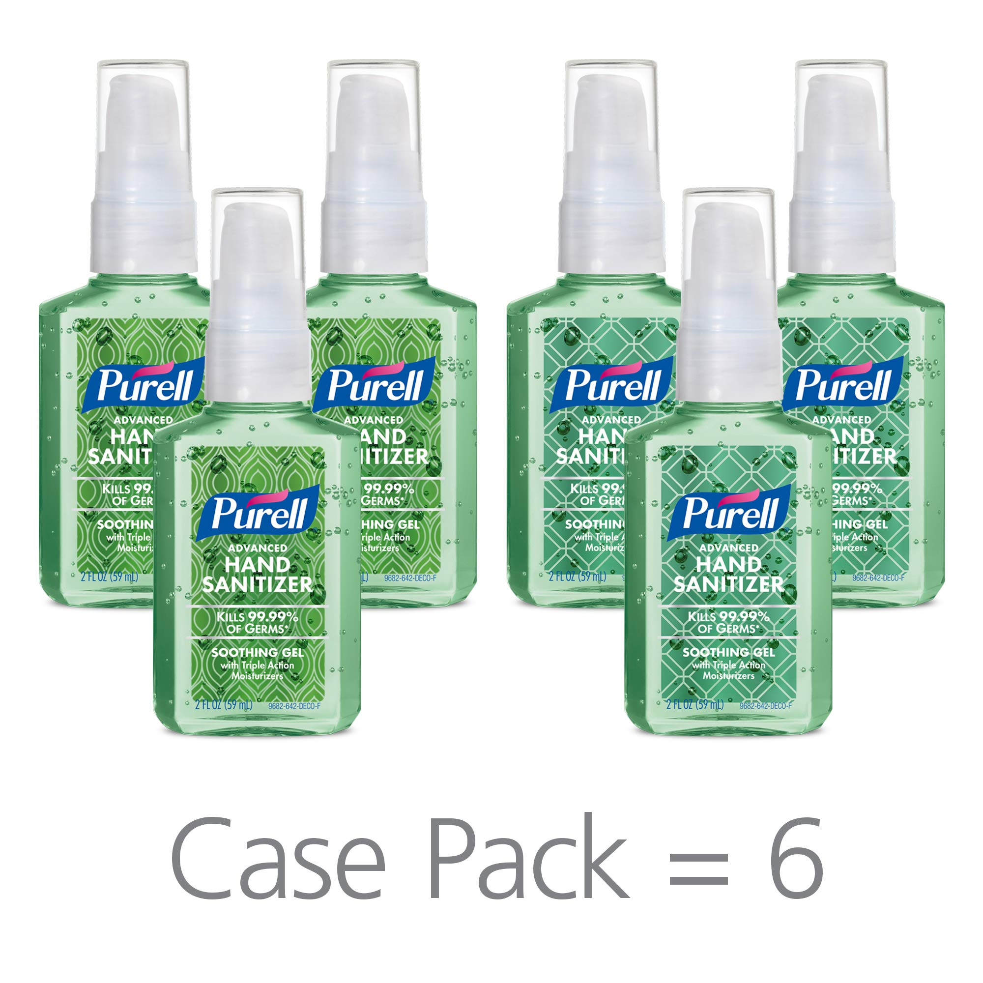 PURELL Advanced Hand Sanitizer Soothing Gel Metallic Design Series, Fresh scent, with Aloe and Vitamin E - 2 fl oz Pump Bottle (Pack of 6) - 9682-04-ECDECO by Purell