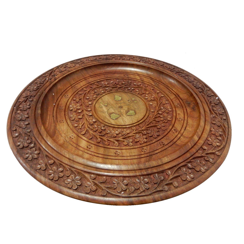 Khandekar (with device of K) Wooden Serving Tray, Round Serving Platter, Fruit Dessert Cake Snack Tea Serving Tray, Kitchen Tray | Handmade | (12 x 12 Inch)