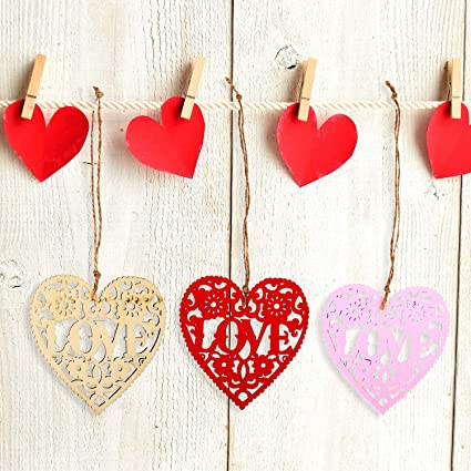 crafts 6 wooden heart shapes decorations bright colours floral patterns cards
