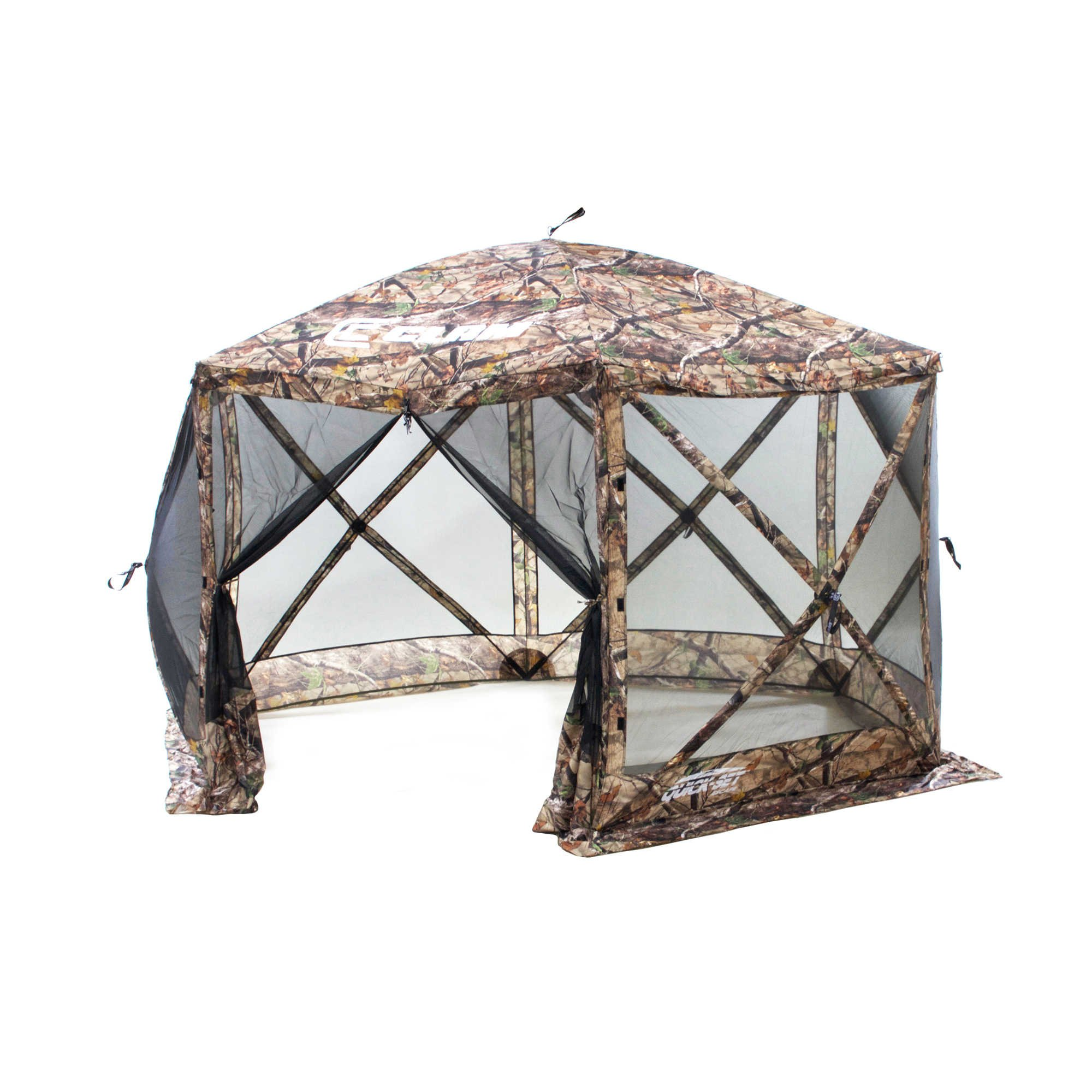 Clam Outdoors Quick-Set Escape 6-Sided Screen Shelter with Wind Panel Flaps in Camo by Clam Outdoors (Image #1)