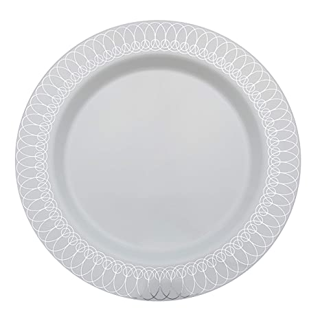 Plastic Wedding Plates.10 25in Silver Ovals Design Premium Plastic Wedding Plates 40 Pack China Like