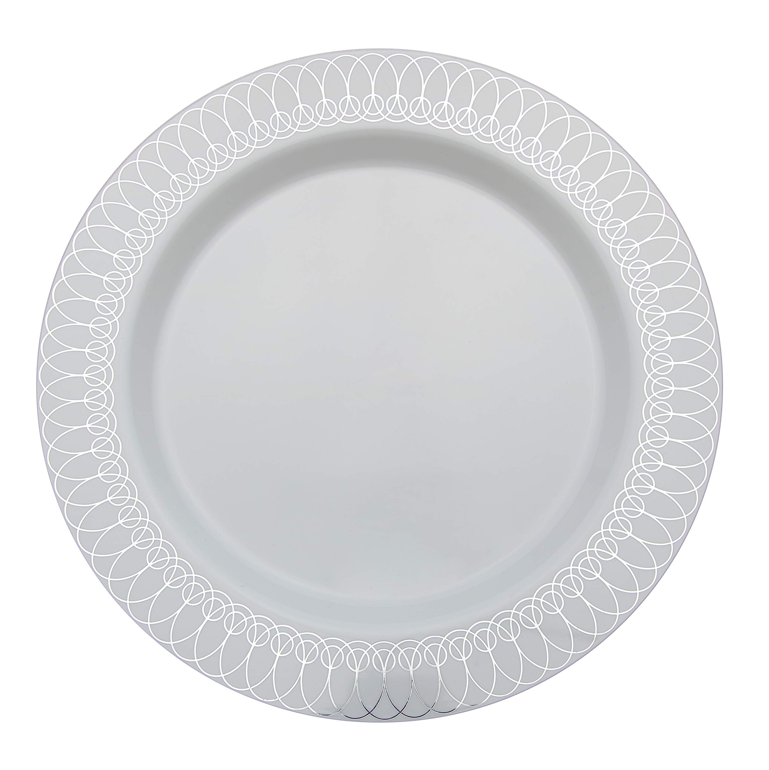 9in. Silver Ovals Design Premium Plastic Wedding Plates (40 Pack) China-Like