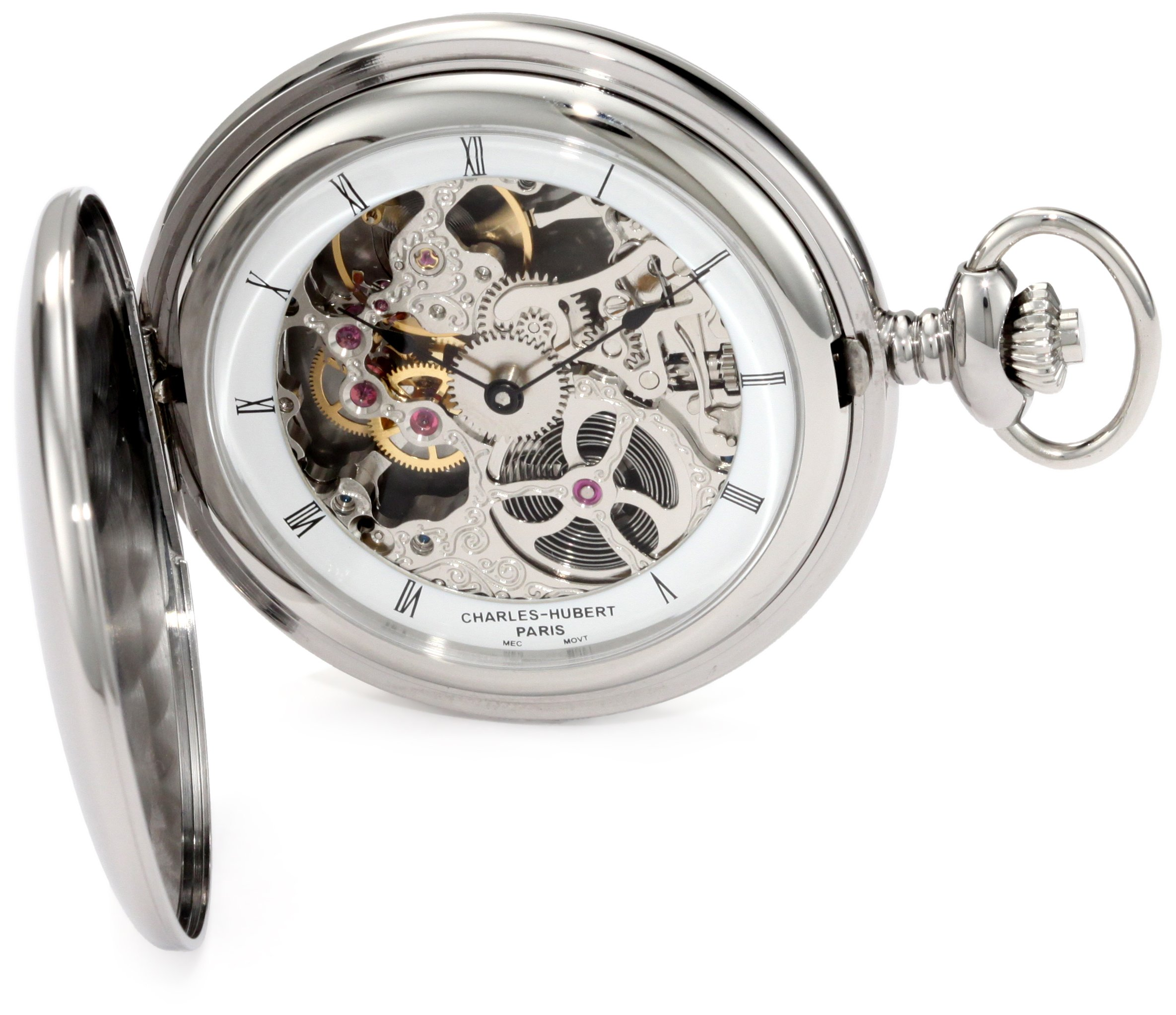CDM product Charles-Hubert, Paris 3905-W Premium Collection Stainless Steel Polished Finish Hunter Case Mechanical Pocket Watch big image