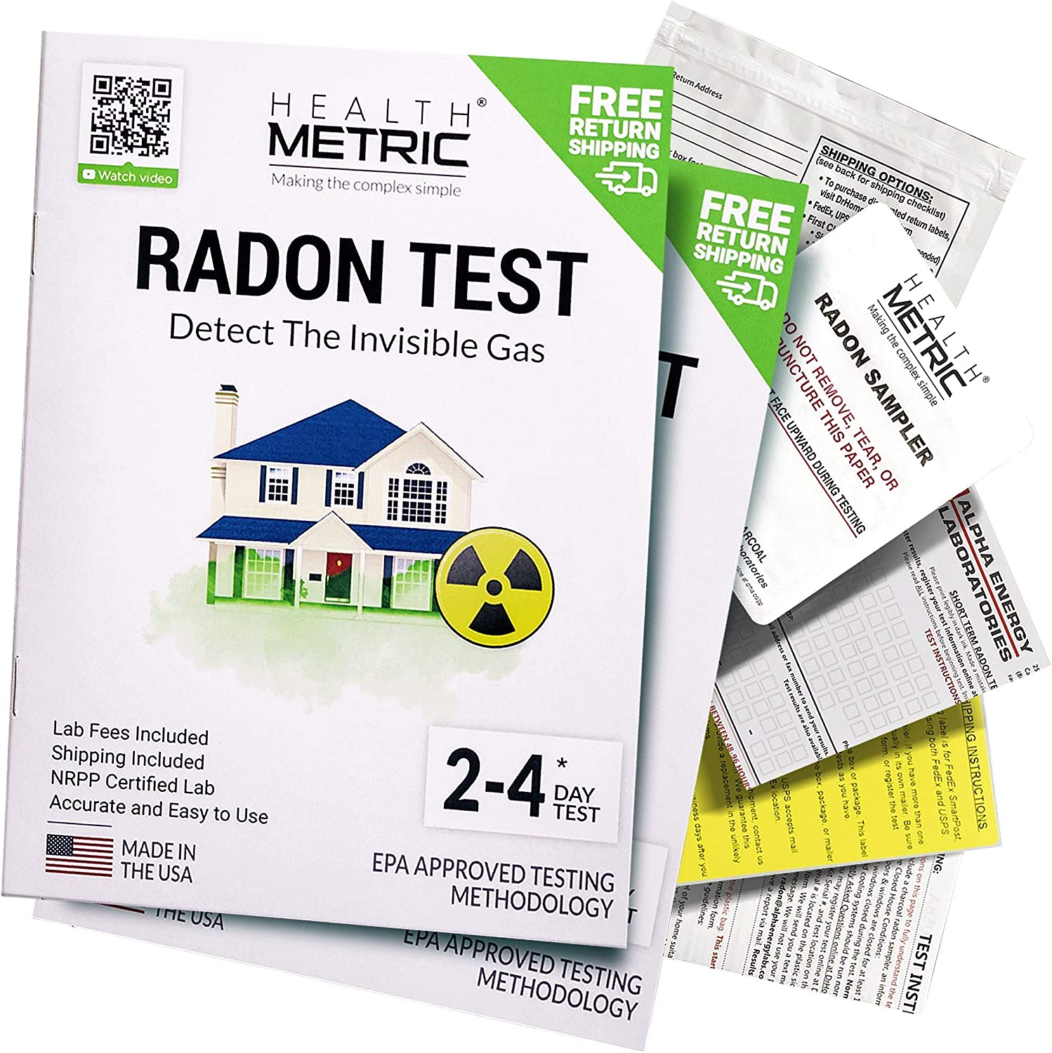 Radon Test Kit for Home - Shipping & Lab Fees Included   Easy to Use Charcoal Radon Gas Detector for Testing 2 Locations   48h Short Term EPA Approved Radon Tester   Fully Certified Lab Testing
