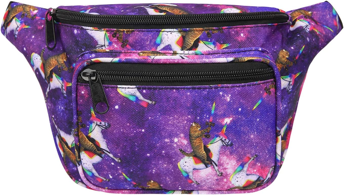 HDE Fanny Pack [80's Style] Waist Pack Outdoor Travel Crossbody Hip Bag(Cats & Unicorns)