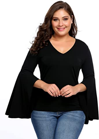 Womens V-Neck Casual Shirt,Ladies Chiffon Long Sleeve Flowy Plus Size Bell Sleeve Blouse Dress Loose Tunic Top