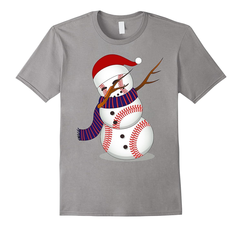 Dabbing Snowman Christmas Shirt   Funny Baseball Dab T-Shirt-ANZ