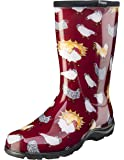 Sloggers Women's Waterproof Rain and Garden Boot with Comfort Insole, Chickens Barn Red, Size 8, Style 5016CBR08