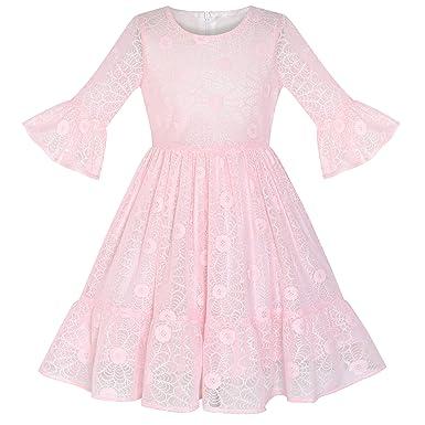 62ac1b400b35 Girls Dress Purple Lotus Sleeve Lace Princess Party Dress Age 5-12 ...