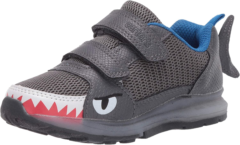 Carter's Kids' Fun Light Up 2 Strap Hook and Loop Slip on Athletic Shoe Sneaker