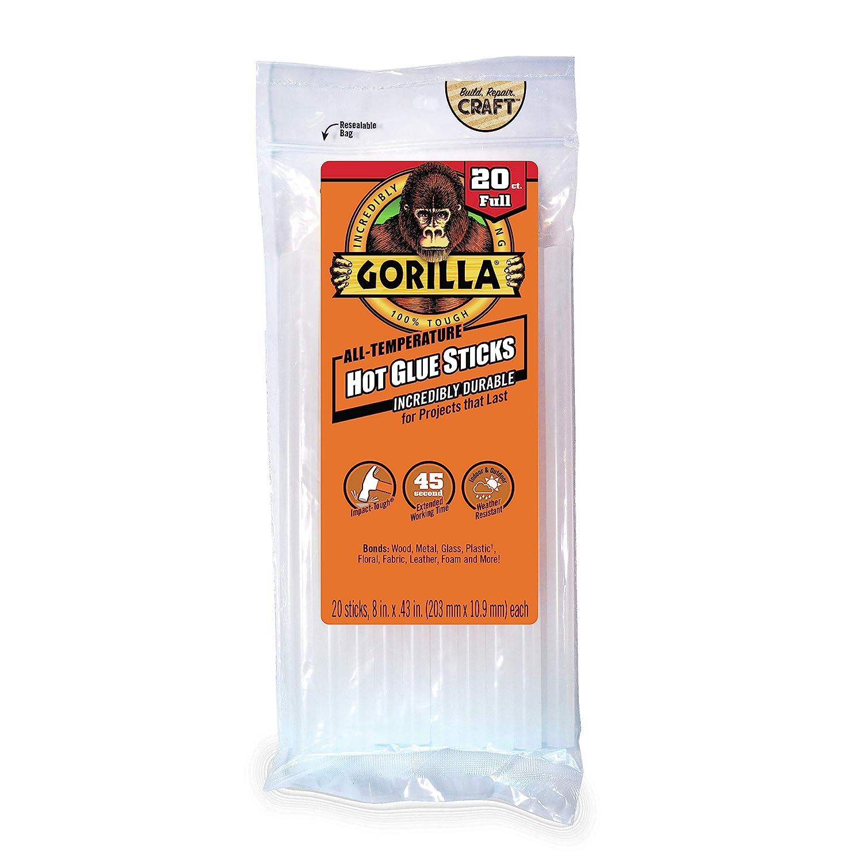 8 Long x .43 Diameter Gorilla Hot Glue Sticks 20 Count Full Size 2 Pack Clear