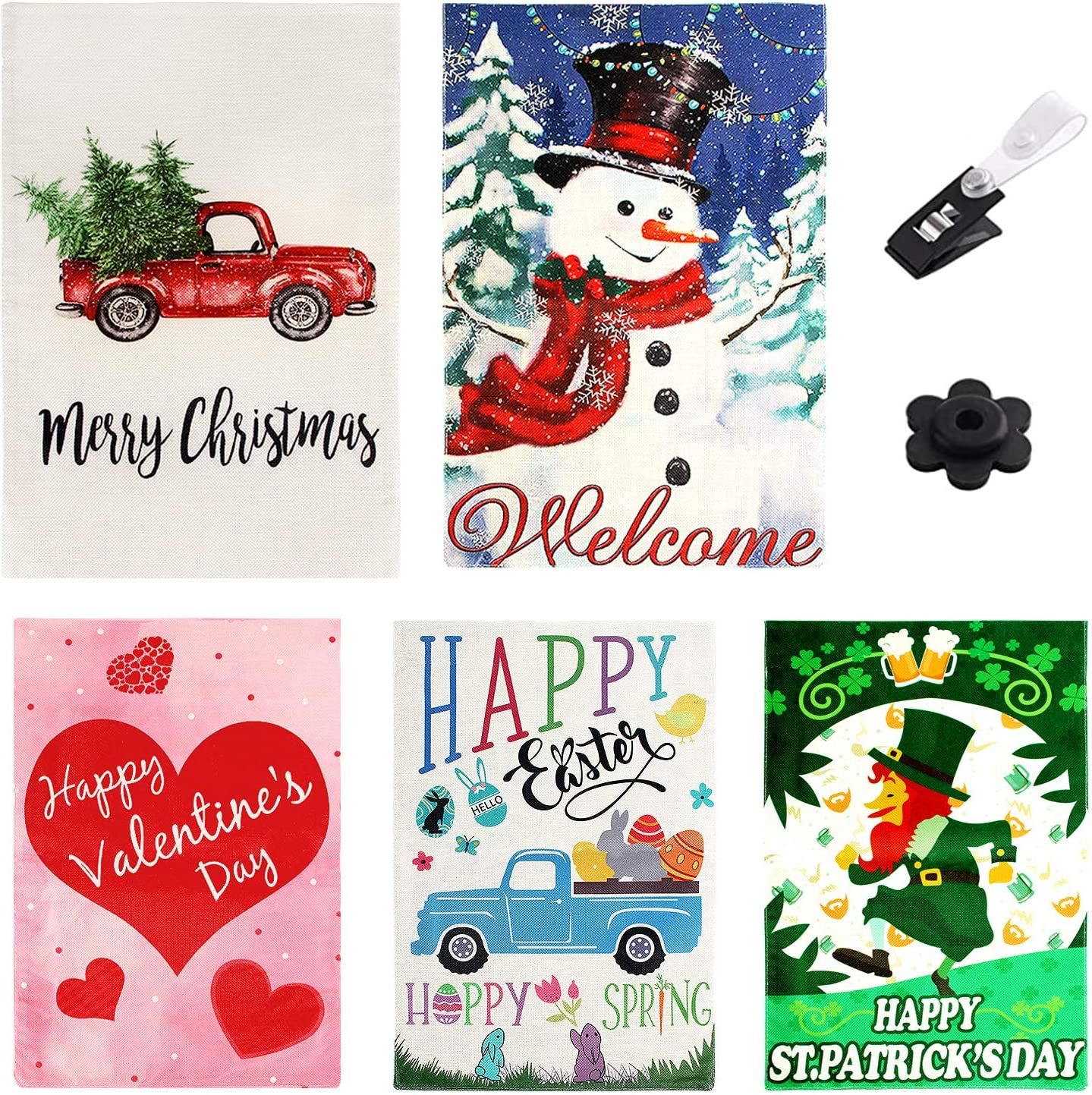 Christmas Garden Flag Double Sided, Seasonal Garden Flags Set 5 Pack, Outdoor Christmas Yard Decorations with Anti-Wind Clip & Rubber Stopper, Winter Garden Flag Holiday Yard Rustic Decor 12 x 18 Inch