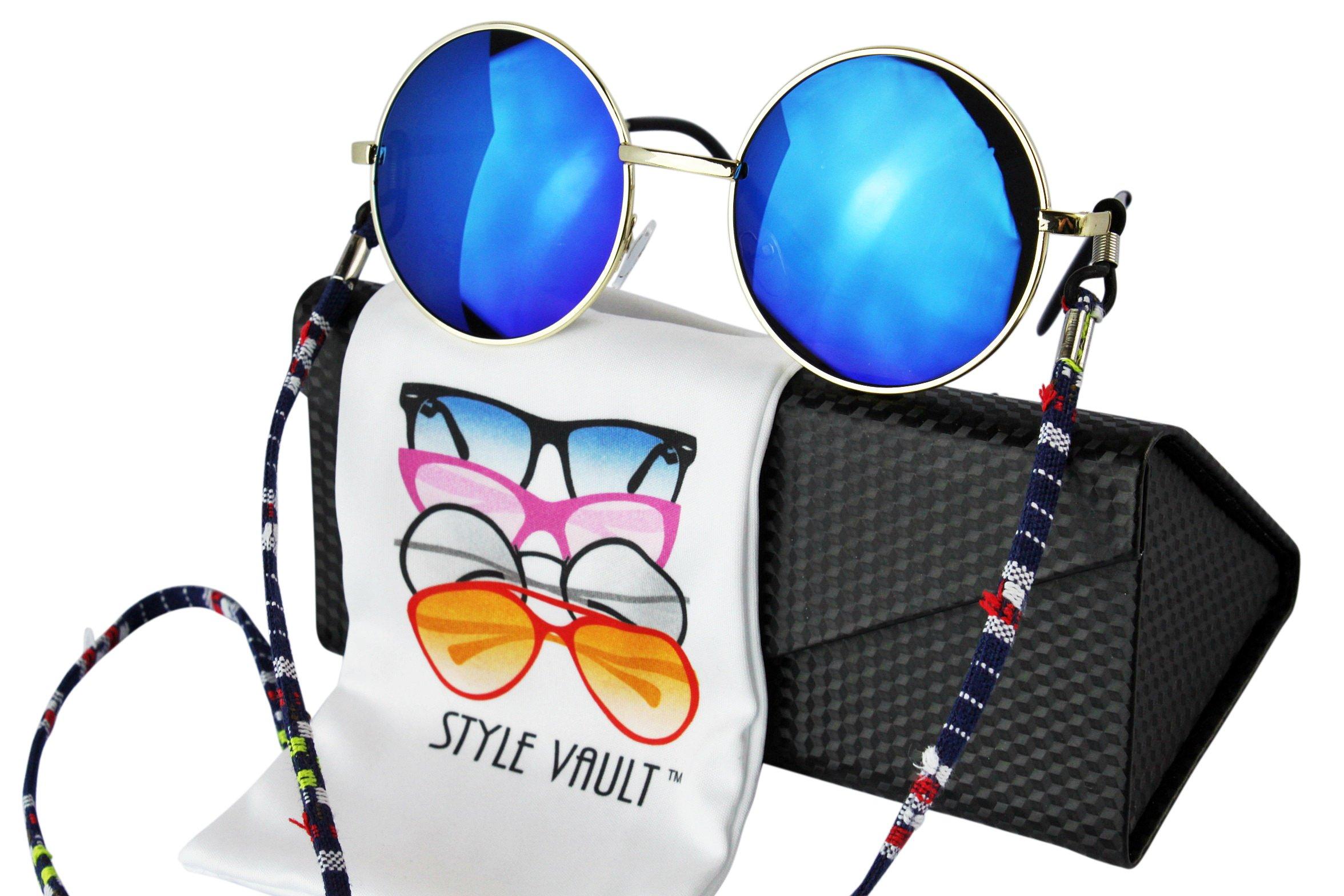 W134-ec Style Vault Retro Hippie Metal Round Sunglasses with Cotton Neck String (C016 Gold-blue mirror, uv400)