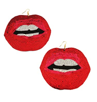48673394c Amazon.com: Red open lips kiss bright color sequin earrings on fish ...