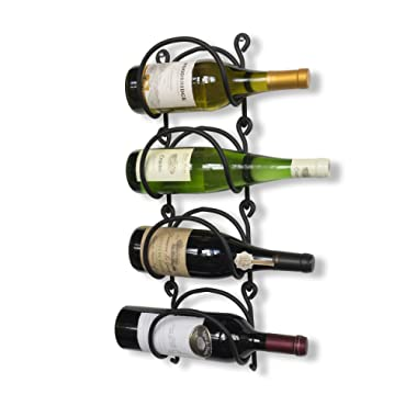 Wallniture Wrought Iron Curved Wall Mounted Wine Rack - Bottle Storage Black Set of 4