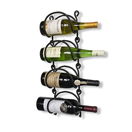 Amazoncom Wallniture Wrought Iron Curved Wall Mounted Wine Rack