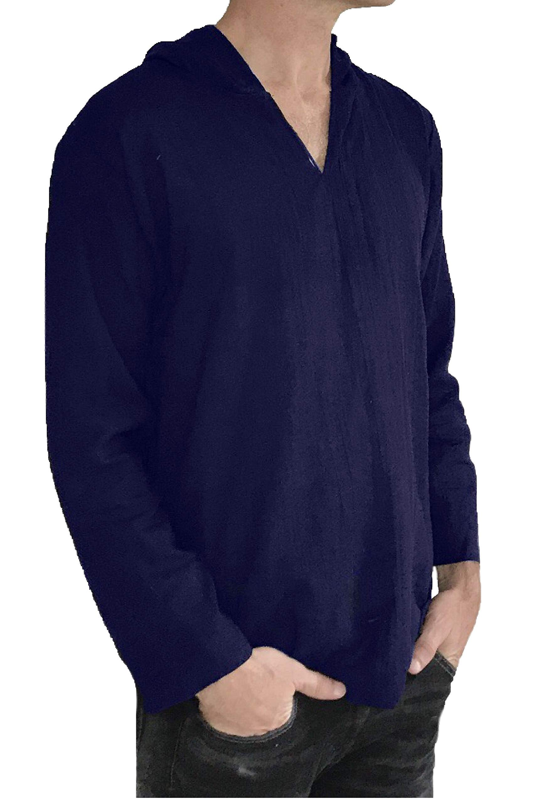 Love Quality Men's Hoodie Hippie Shirts Beach 100% Soft Cotton Top Yoga Shirt Boho (Large, Navy)