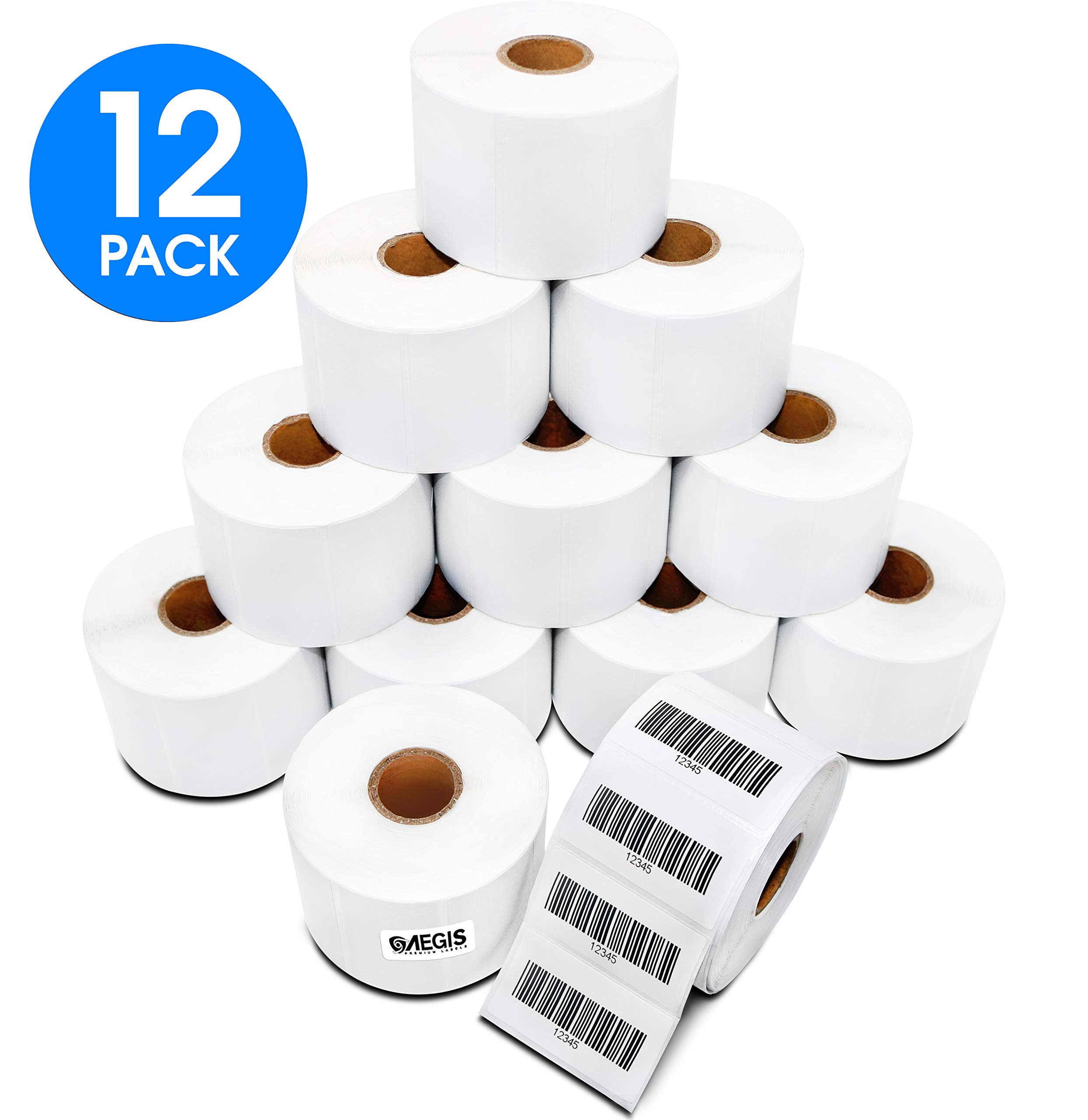[12 Rolls, 1,000/Roll] Aegis 2 1/4 Inch X 1 1/4 Inch Direct Thermal Labels, Perforations Between Labels - Zebra/Eltron Compatible (NOT Dymo Compatible)