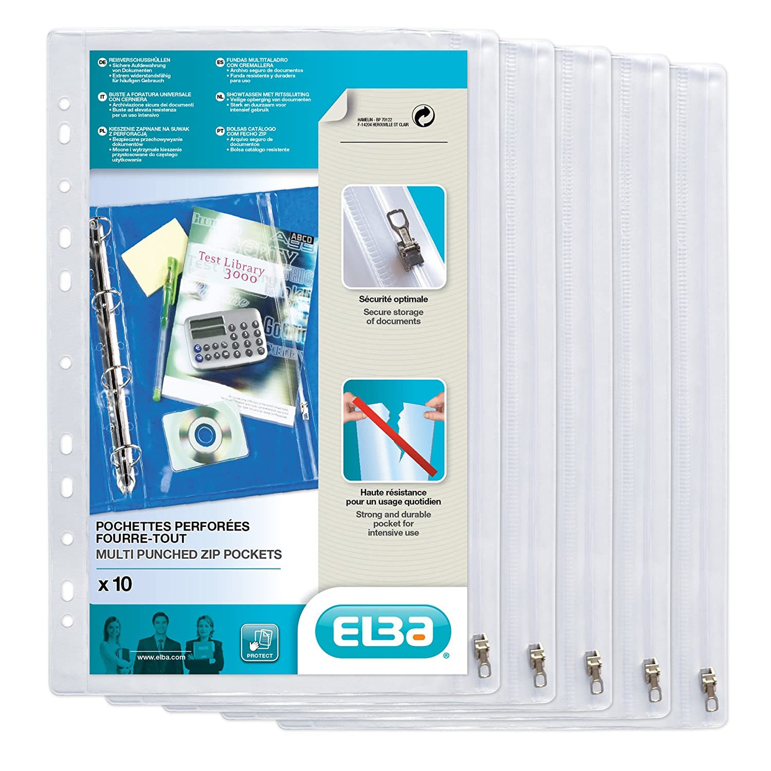 Amazon.com: ELBA RING BINDER ZIP POCKETS PK10 CLEAR ...
