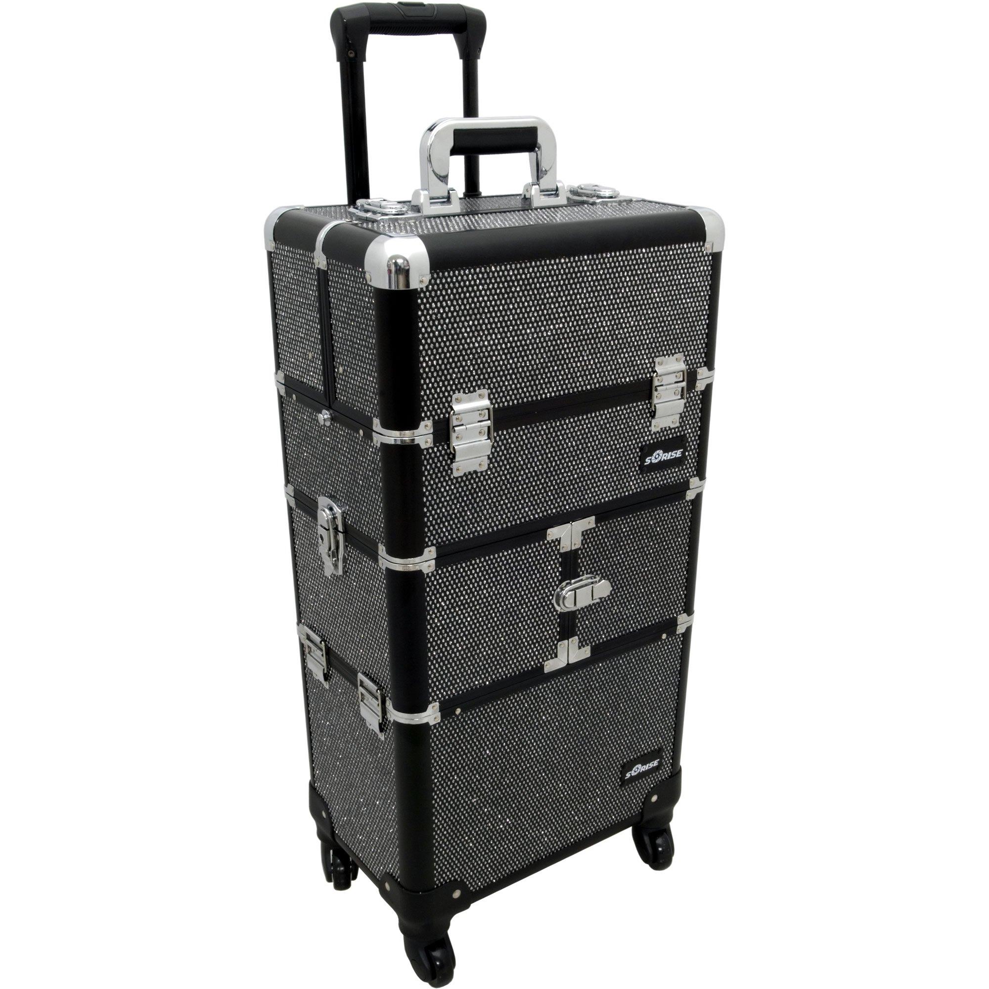 Sunrise De Mezo 2-In-1 Rolling Makeup Case Professional Nail Travel Organizer Box, Black Krystal, 24 Pound by SunRise