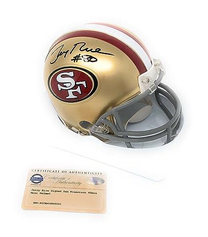 d1e1ac32b Image Unavailable. Image not available for. Color  Jerry Rice San Francisco  49ers Signed Autograph Mini Helmet ...