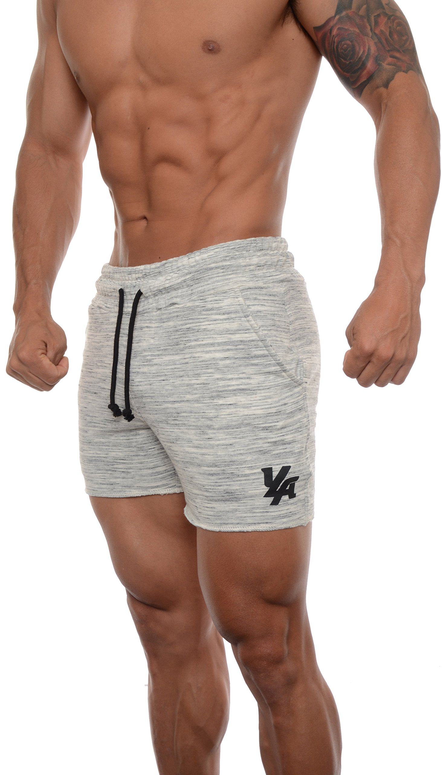 YoungLA Men's French Terry Solid Bodybuilding Gym Running Workout Shorts Marble Large