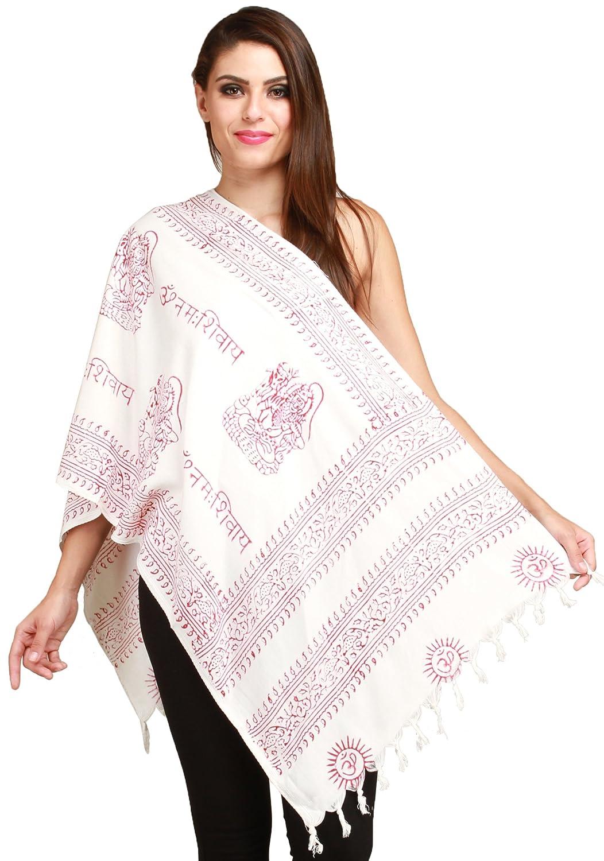 Exotic India Pristine-White Om Namah Shivai Prayer Scarf SRB92