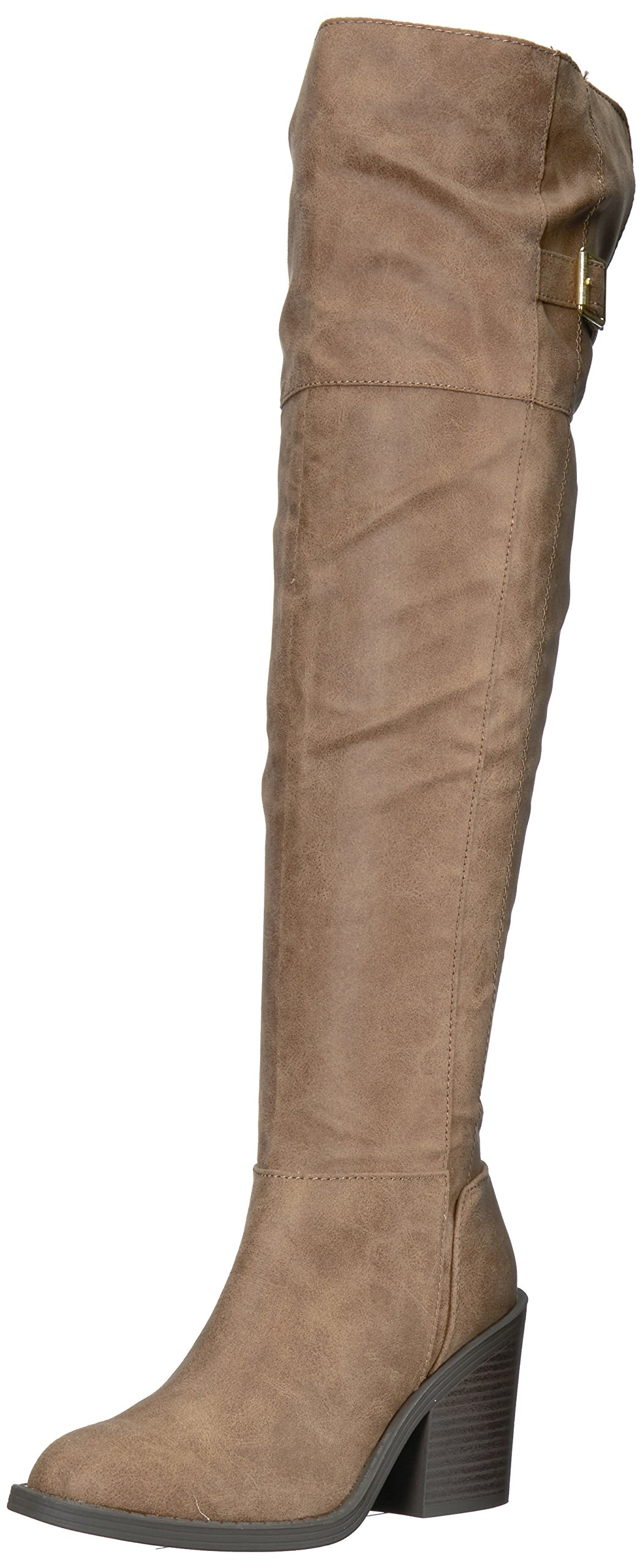 Qupid Women's Marcel-09X Over The Knee Boot, Taupe, 7.5 M US