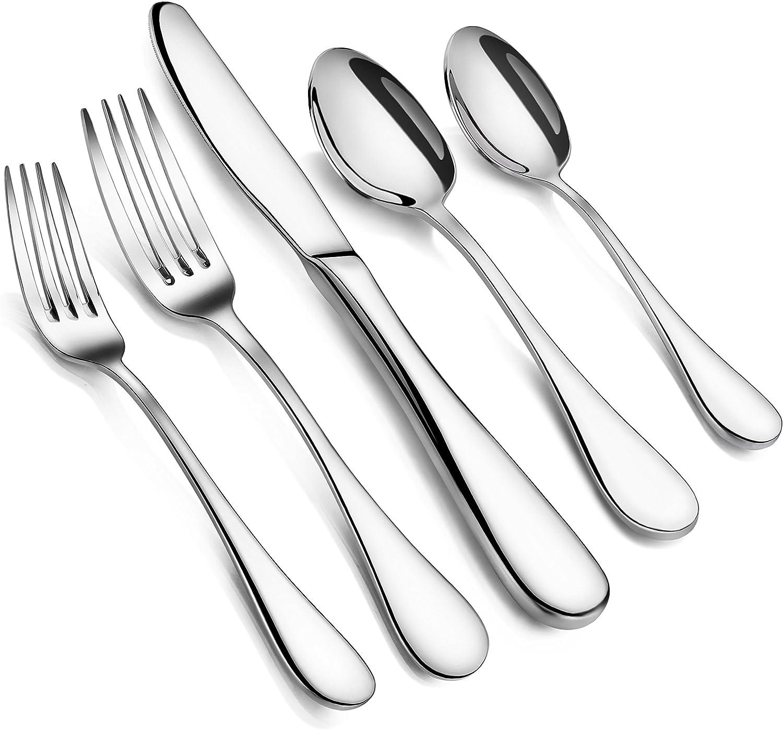 Artaste 56389 Rain 18 10 Stainless Steel Flatware 20 Piece Set Service For 4 Silver Amazon Co Uk Kitchen Home