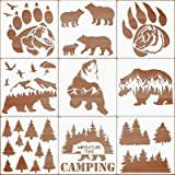 9 Pieces Forest Bear Claw Stencil Kit Winter Porch Stencil Animal Reusable Mylar Template Stencils with Metal Open Ring…