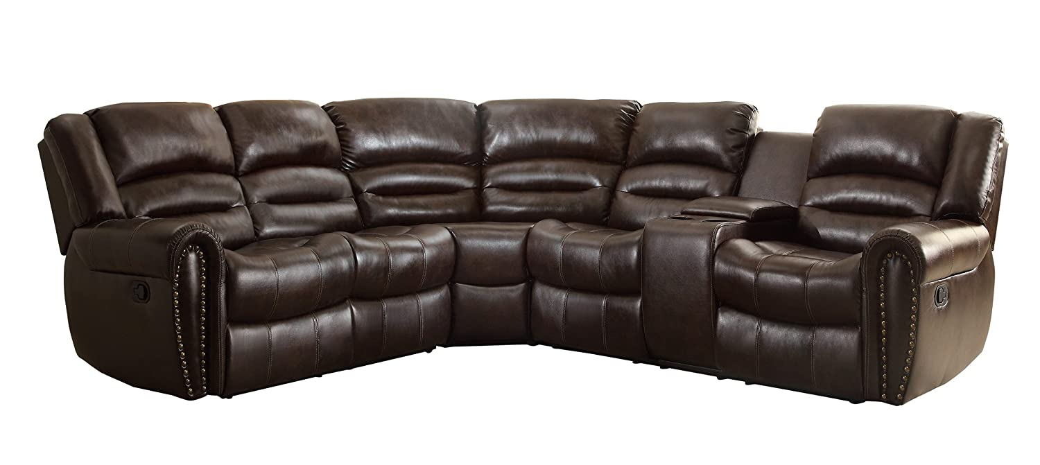 Homelegance 3 piece bonded leather sectional reclining nail head accent sofa with 2 cup holders console