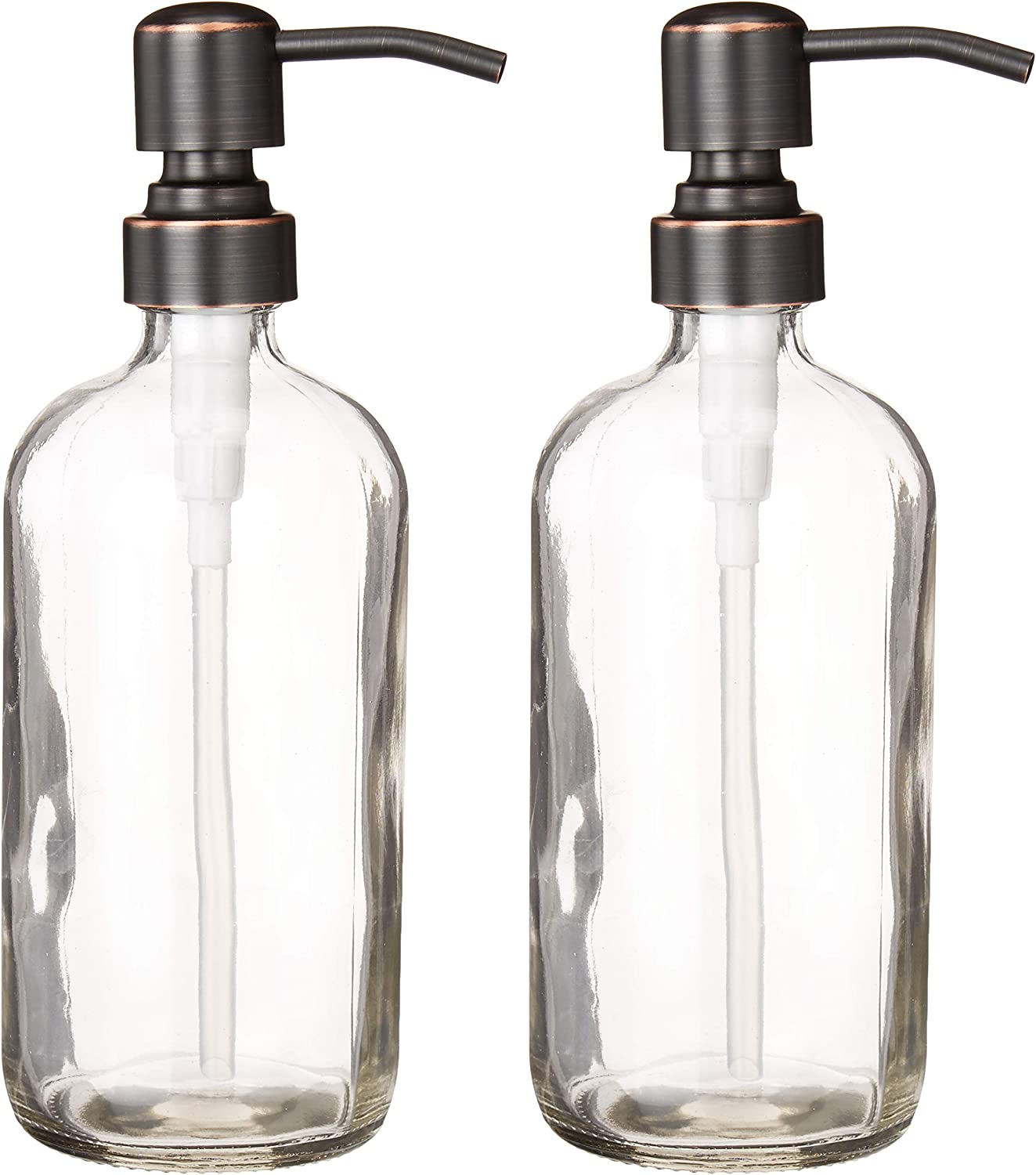 2-Pack Dispenser Pump Bottles for Kitchen and Bathroom - Dish Soap, Hand Soap, Shampoo, Lotion, Mouthwash, and More - Rust Resistant Oil-Rubbed Bronze Pump - Heavy 17.5 Ounce Glass Bottle