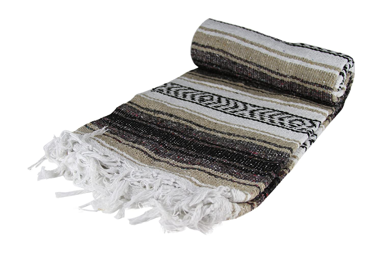 Authentic 6' x 5' Mexican Siesta Blanket (Random / Assorted) (Tan / Brown)