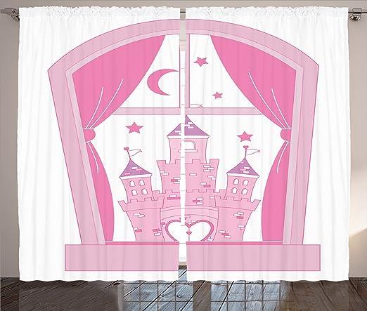 Amazon.com: Ambesonne Teen Girls Decor Collection, Princess Castle ...