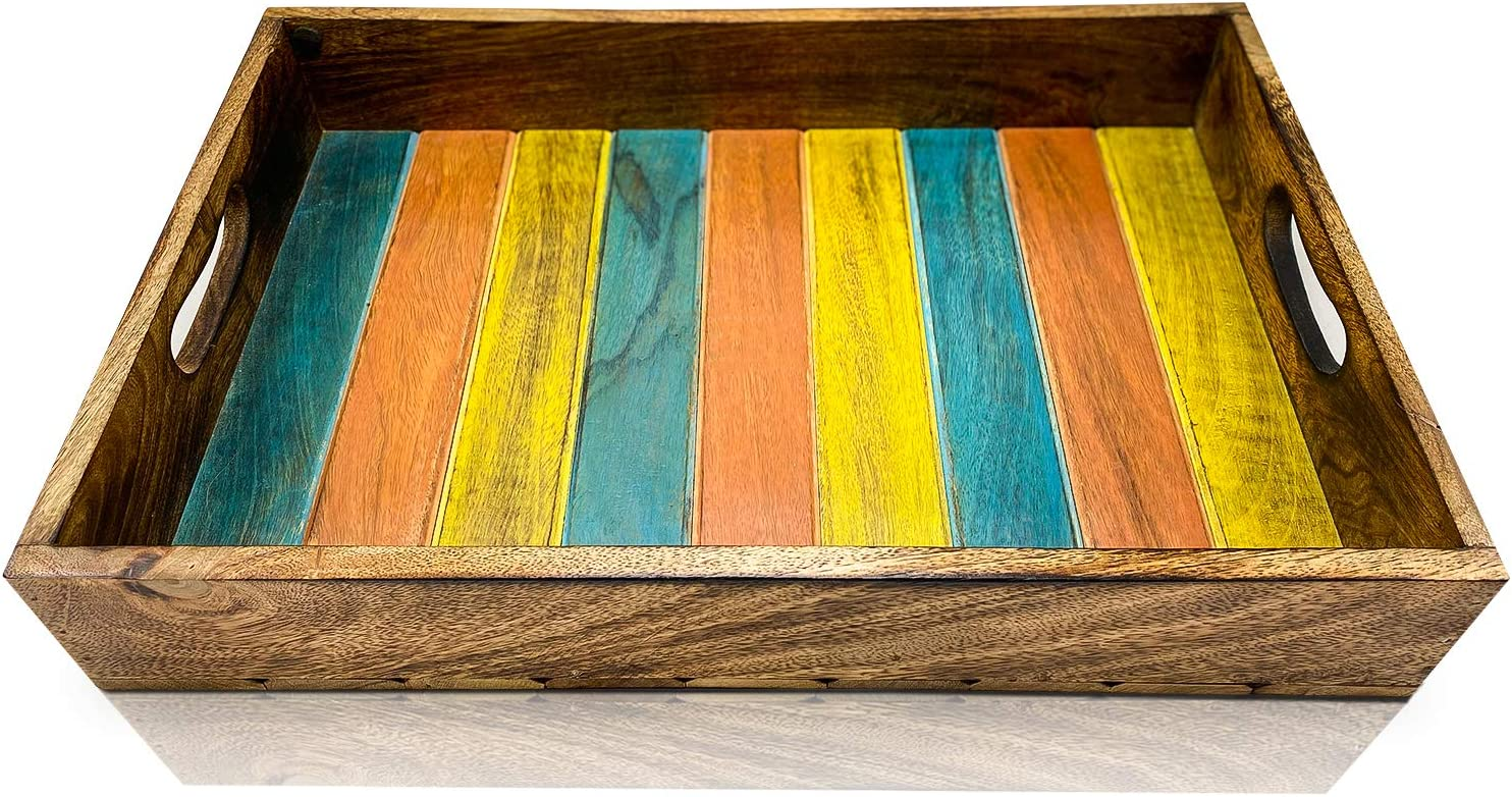 Olive + Crate KitchenPerfect Large Hand Made Decorative Wooden Serving Trays For Coffee Table With Handles, Rustic Farmhouse Style, For Eating Or Drinks On Sofa, Living Room, Kitchen or In Bed