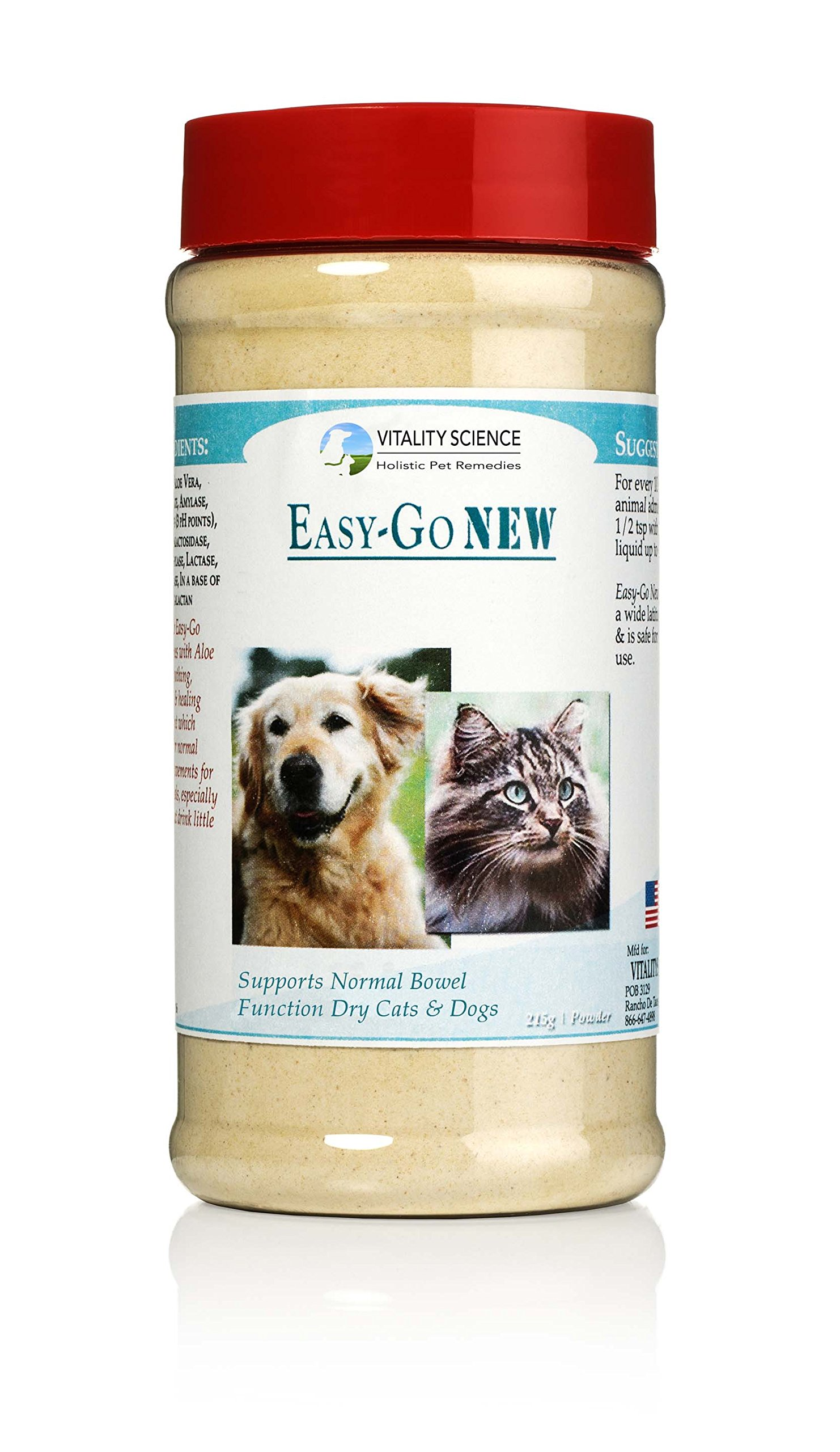 Vitality Science Easy-Go Supplement for Cats and Dogs | Supports Normal Bowel Function | Relieves Constipation | Promotes Healthy Digestive System | Easy Digest | 100% Natural & Additive Free (215g) by Vitality Science
