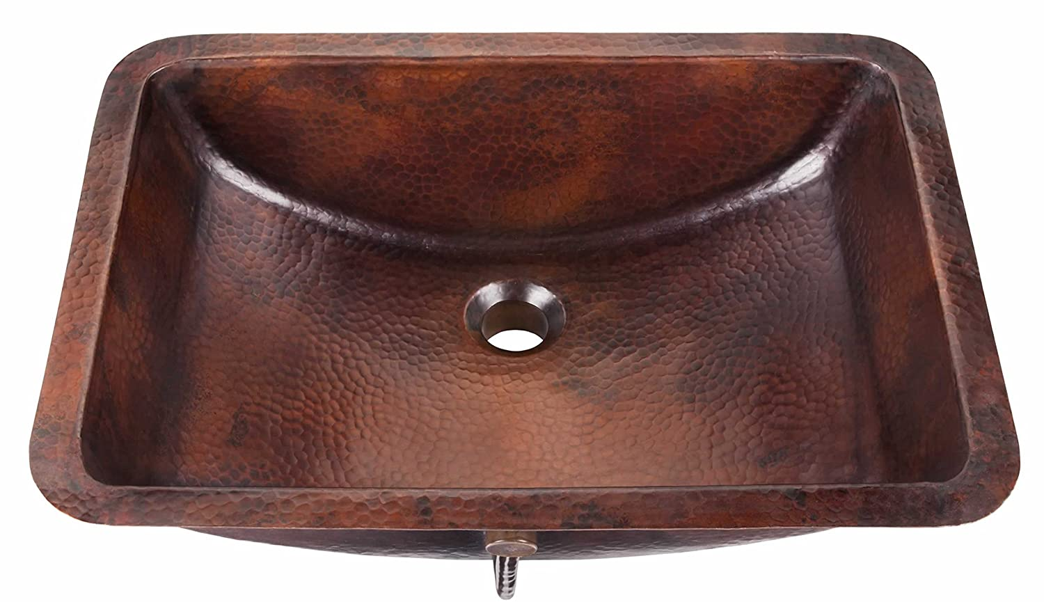 """lovely Sinkology SB206-21AG Curie Undermount Handmade Pure Solid Bath Sink with Overflow, 21"""", Aged Copper"""