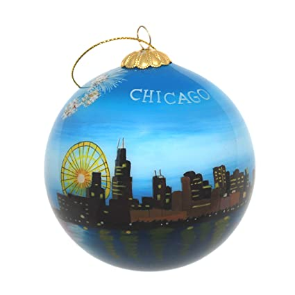 hand painted glass christmas ornament chicago illinois skyline with fireworks - Chicago Christmas Ornament