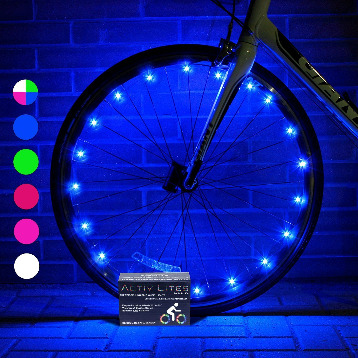 Activ Life LED Bike Wheel Lights with BATTERIES INCLUDED! Visible From All Angles for Ultimate Safety and Style (1 Tyre Pack)