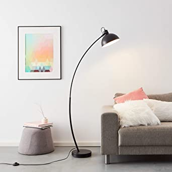 Práctica lámpara de pie de arco de 1,5 m, 1 bombilla E27 máx. 60 W de metal en negro mate.: Amazon.es: Iluminación