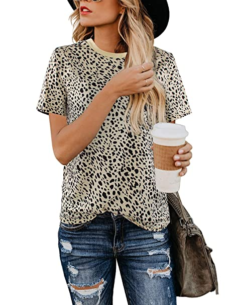 a6a2a2eab44e Blooming Jelly Women's Leopard Print Top Cute Short Sleeve Crew Neck Cheetah  T Shirt Tee (