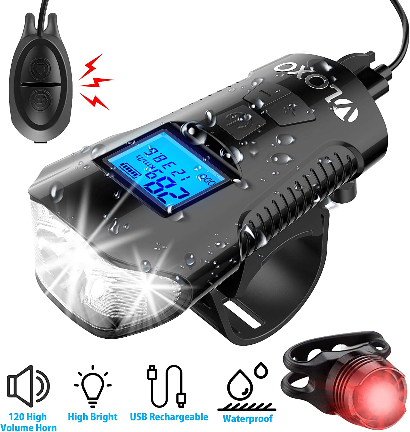 Rear Lamp Set 5 LED Mountain Bike Cycling Light Head LCD Bicycle Speedometer