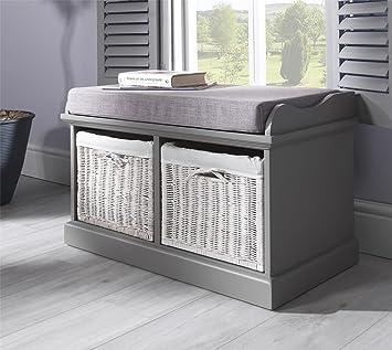 Tetbury Grey Bench With 2 White Baskets Hallway Storage Bench With