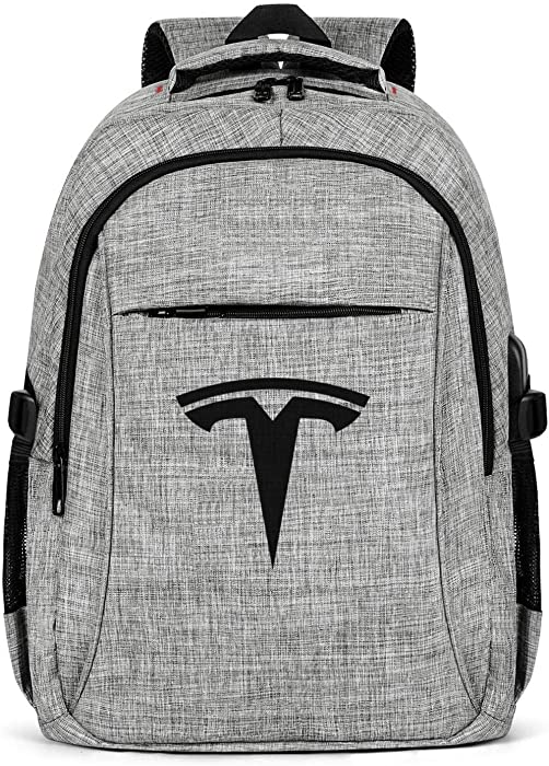 Laptop Backpack Water Repellent Tesla-Electric-Car-Black-Simple- Travel Backpack Bookbag with USB Charging Port for Men Womens Durable Laptops Backpack Fits 15.6 Inch Laptop Notebook-Grey